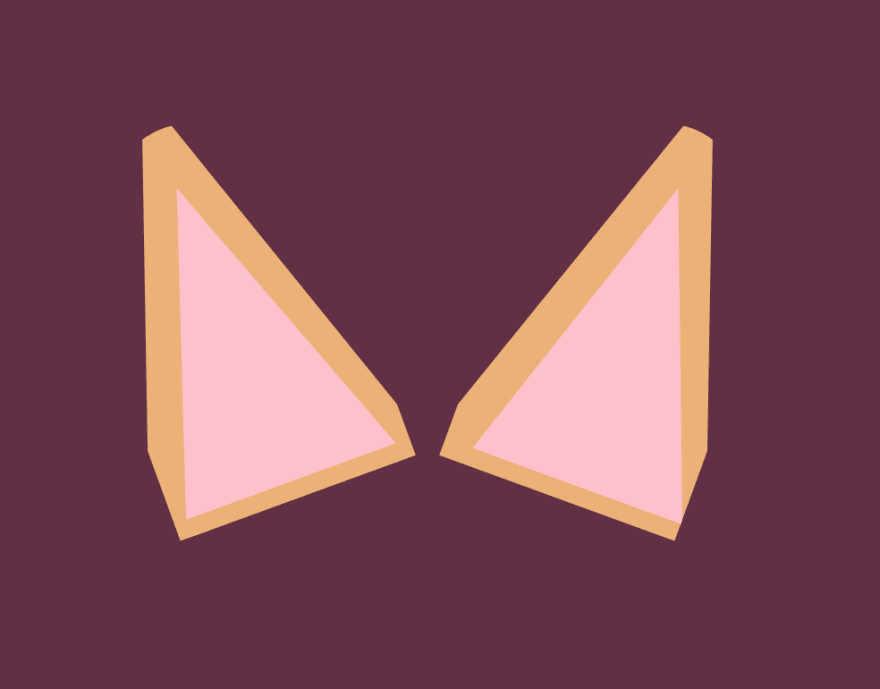 Finished ear shapes - now with straightened outside edges and slightly rounded tops