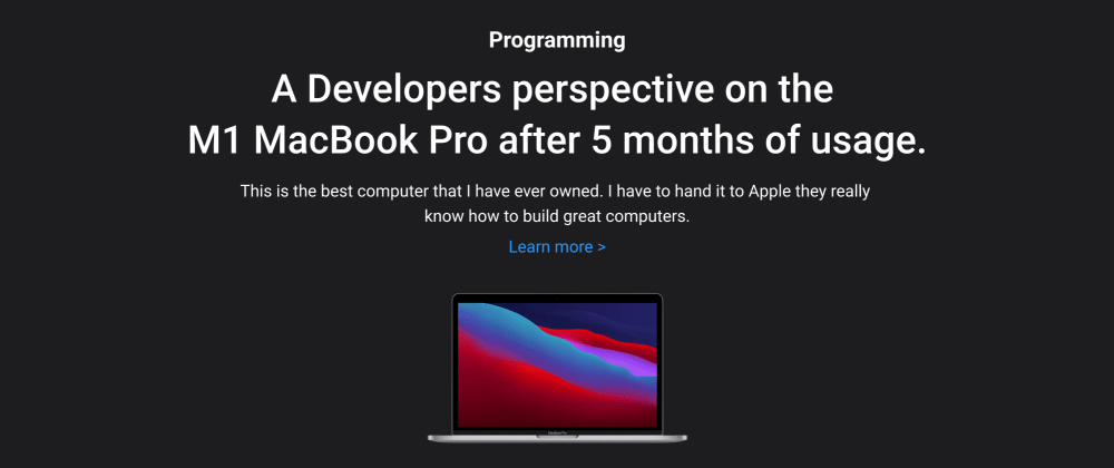Cover image for A Developers perspective on the M1 MacBook Pro after 5 months of usage