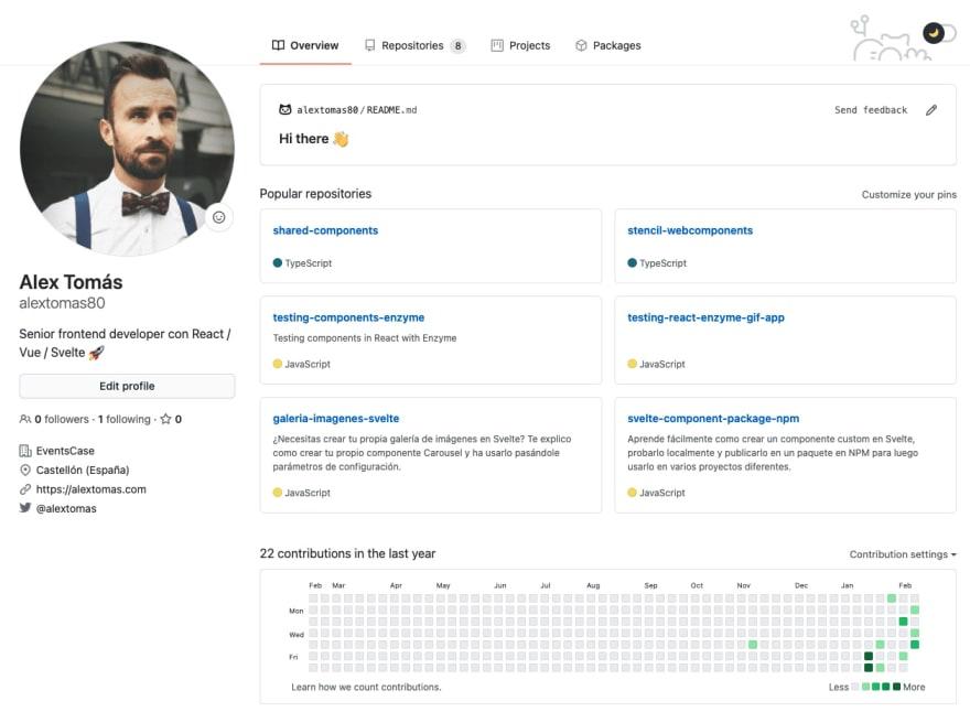 Perfil personalizado en GitHub con README.md