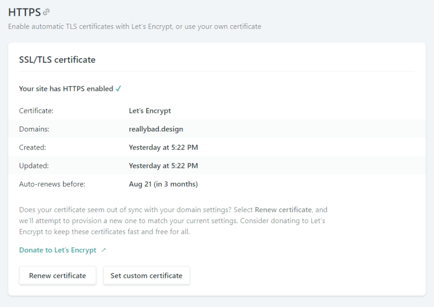 SSL/TLS Certificate showing under HTTPS section of Netlify's Custom Domain settings page. Details about the certificate are shown including when it was created, when it was updated, and when it auto-renews before.
