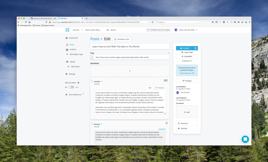 Screenshot of the Cosmic CMS Dashboard