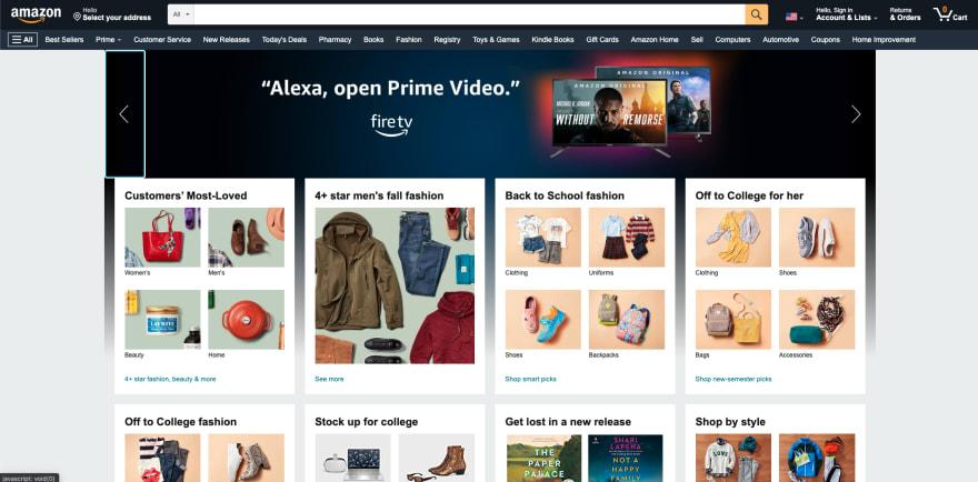 Amazon website section