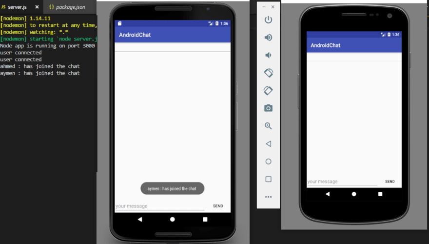 Creating a realtime chat app with android , NodeJs and