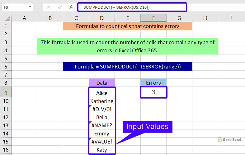Formulas to count cells that contain errors
