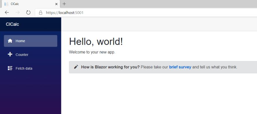 First Blazor app