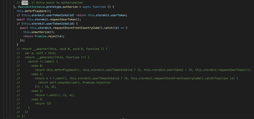 Commented minified code of function authorize from MusicKitJS