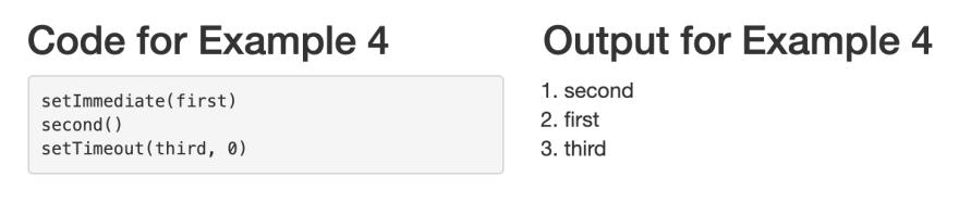 Example 4 — setImmediate versus setTimeout again