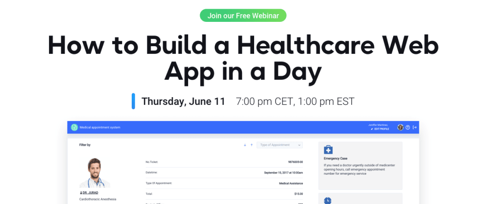 Cover image for How to build a Healthcare Web App in a day – Webinar