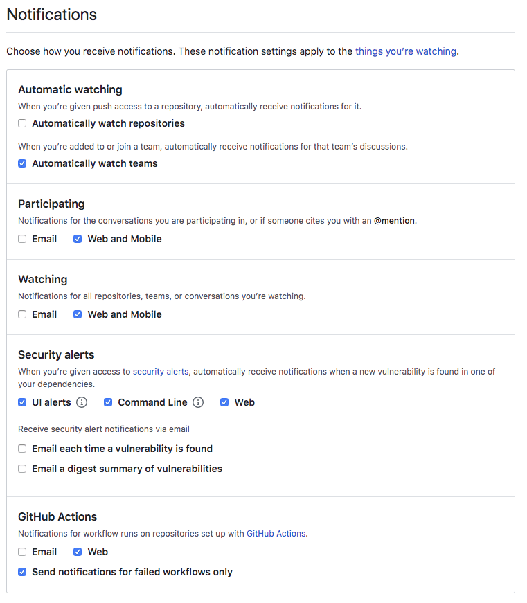 GitHub Notification settings