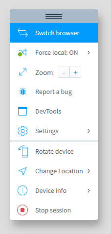 The toolbar in Browserstack