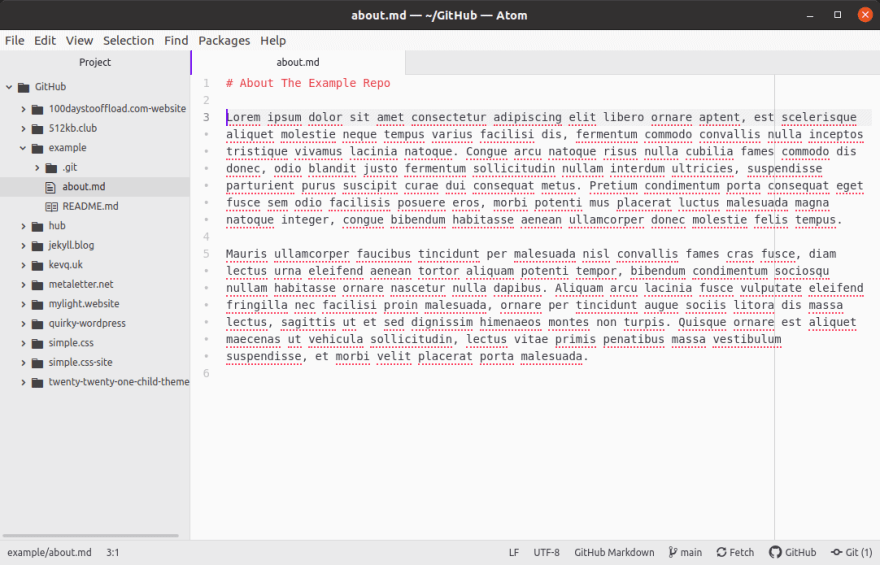 About.md file example Git repo.