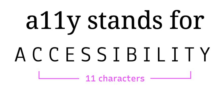 Termo a11y que representa a palavra acessibilidade