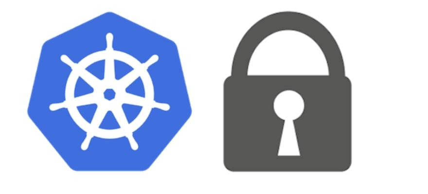 Kubernetes logo and lock