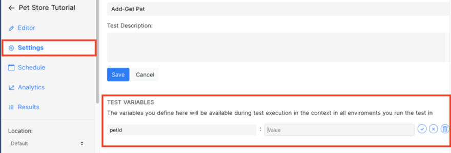 test variable section in settings