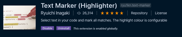 Text marker extension in the visual studio code store