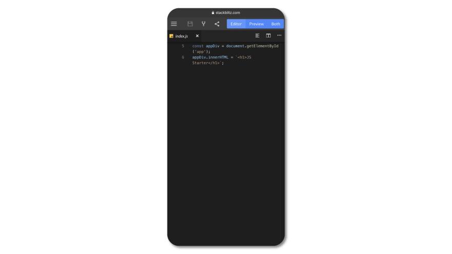 Stackblitz on mobile Safari
