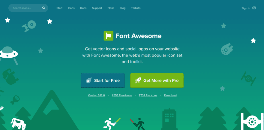 Font Awesome landing page