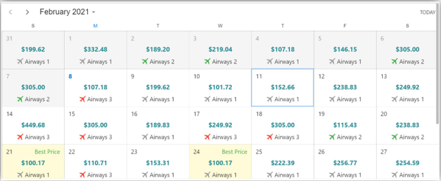 Airfare calendar showing the cheapest fares among the listed airlines