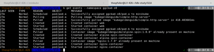The output for events collected in namespace ggckad-s0 when setting up pod-a and pod-b.
