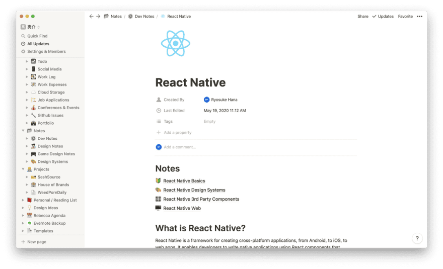 Screenshot of the Notion app on the React Native page with notes on the subject