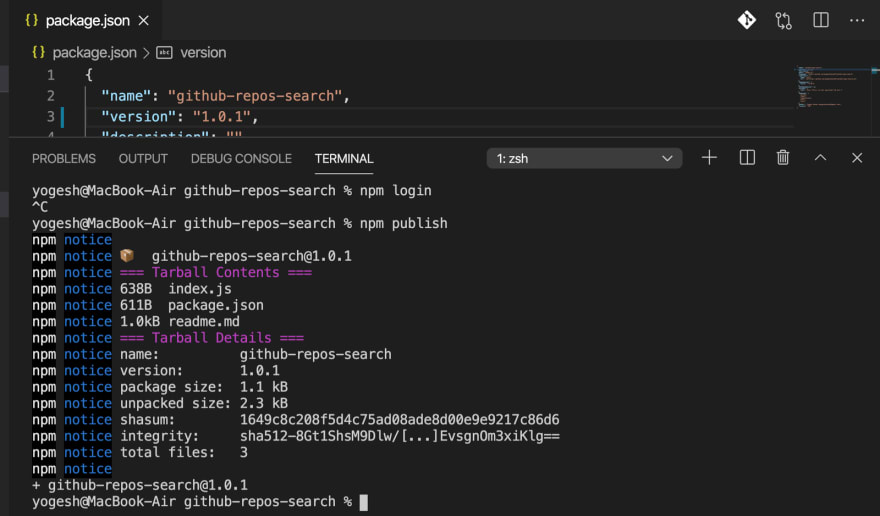 output of npm publish with next version