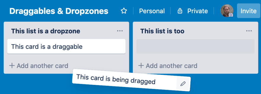 A screenshot of the Trello app, showing a card being dragged from one list to another.