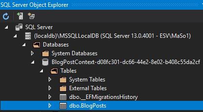 SQL Server Object Explorer view