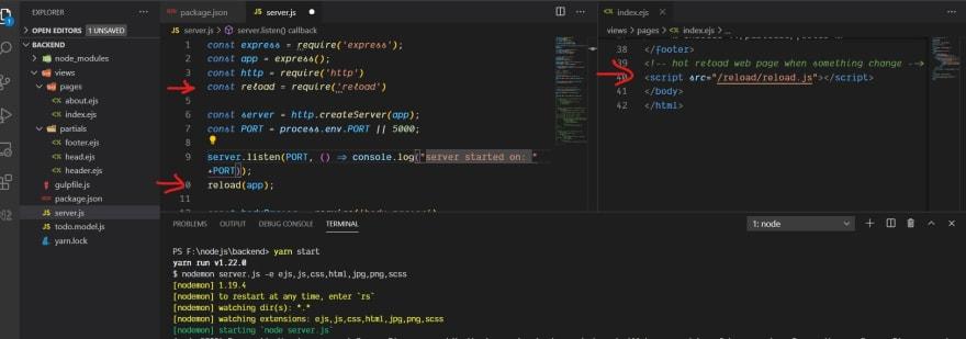 hot reload node server with nodemon live reload browser index.ejs file terminal running yarn start command