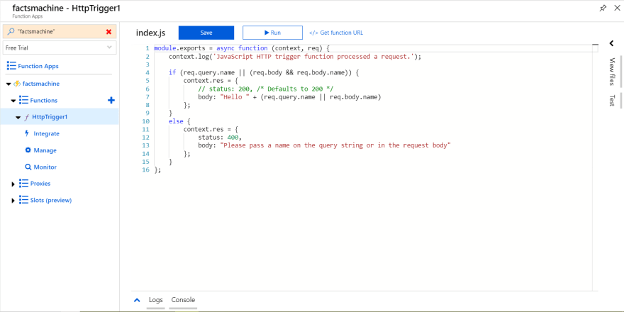 Default Function Code