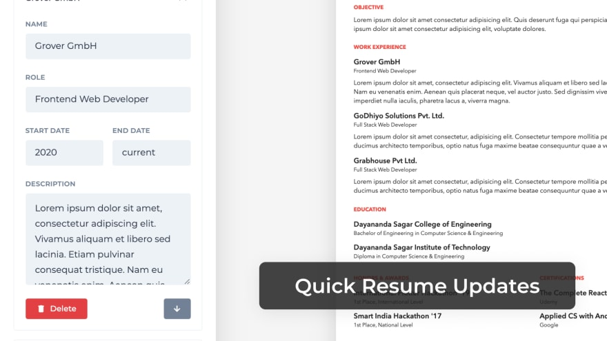 Quick Resume Updates