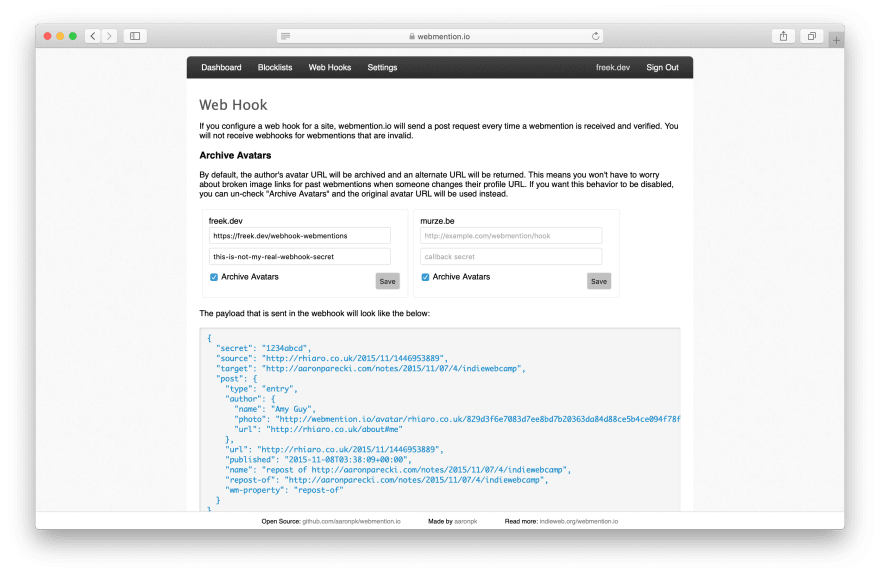 Webhook settings on Webmention.io