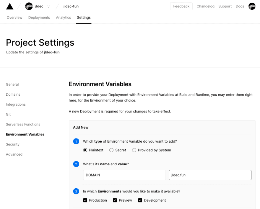 Dashboard environment settings