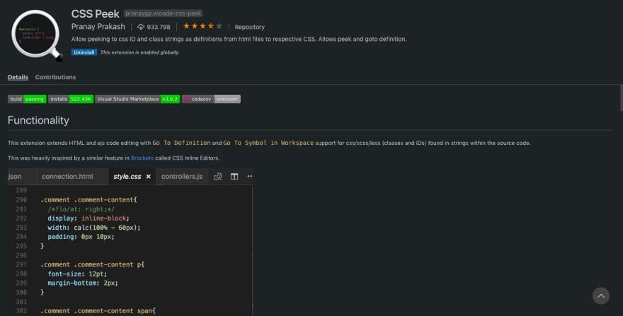 CSS Peek Screenshot