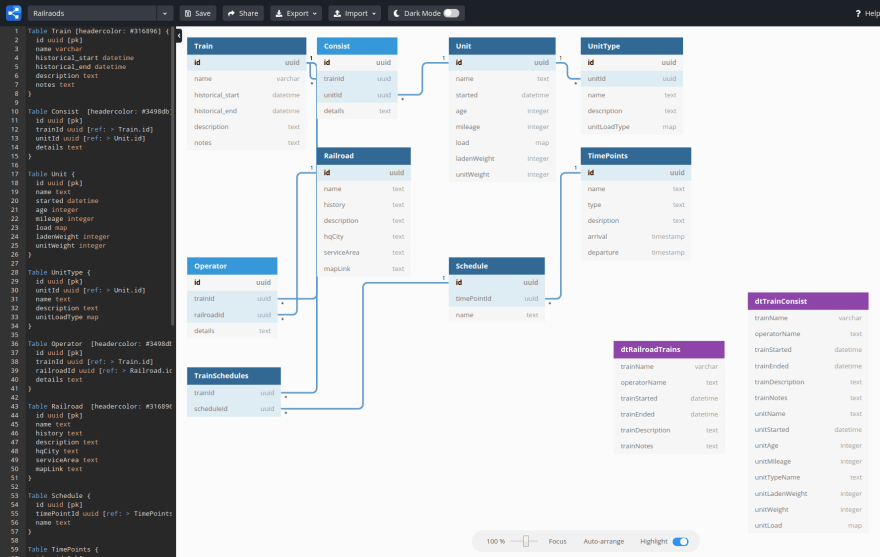 The dbdiagram Interface with Schema Configuration to the Left