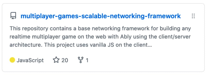 An image of the GitHub repo of the scalable networking framework for games