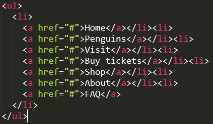 html code with open and close li tags on one line