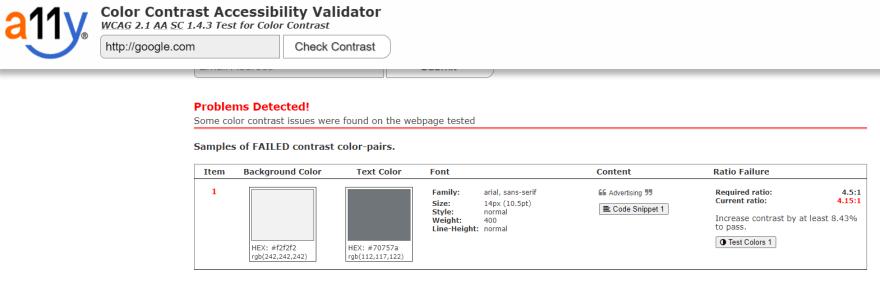 Resultado de teste de contraste do site google.com feito pelo site color.a11y.com