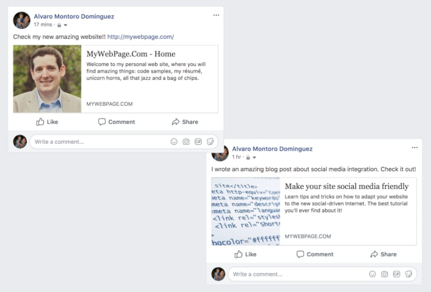 Screen capture of facebook share with metadata correctly in its place