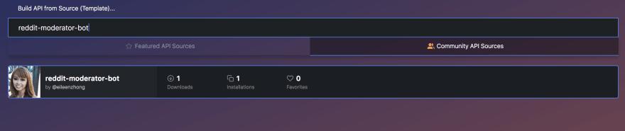 "Select ""reddit-moderator-bot"" by @eileenzhong"