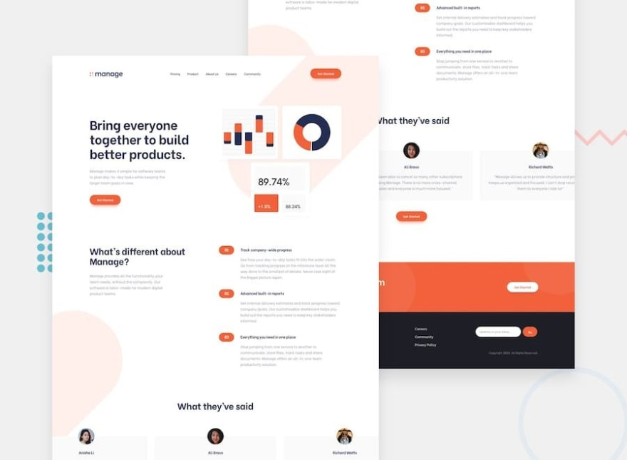 Design preview for the Manage landing page challenge