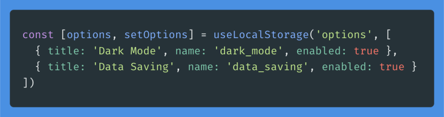 Adding a data saving option to our options state.