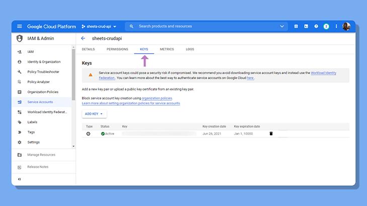 Create a new key in Google Cloud Console