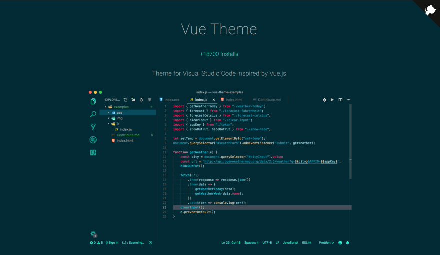 Vue Theme - Theme for Visual Studio Code inspired by Vue js