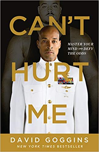 The book cover for Can't Hurt Me with David Goggings in US Army Uniform