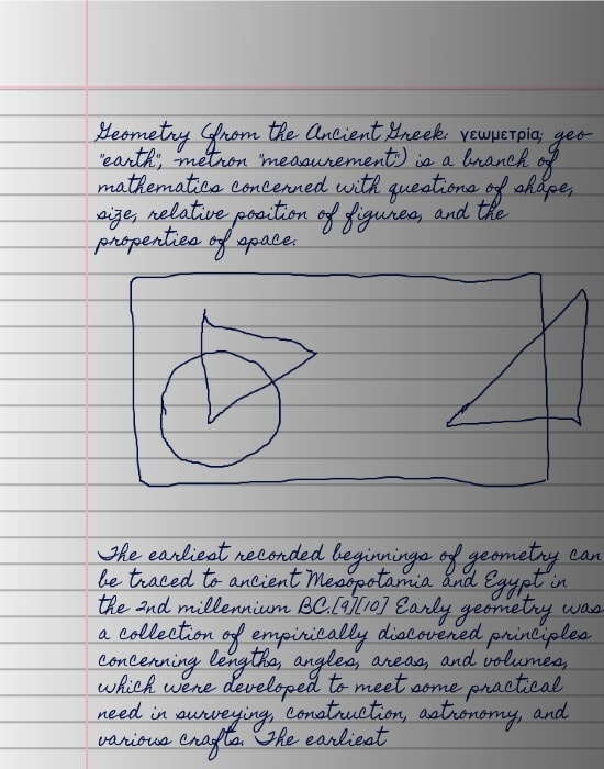 A picture of output from text-to-handwriting that looks very close to the picture taken of handwritten paper