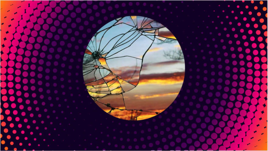A gradient orange and purple background with a broken mirror reflecting a sunset