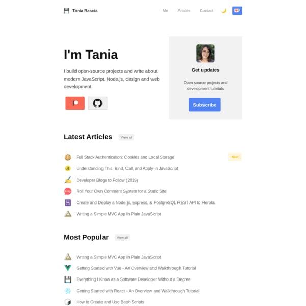 Tania Rascia Blog