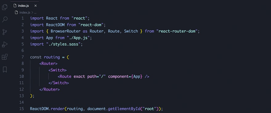 React code snippet with the August - Ariake Dark theme