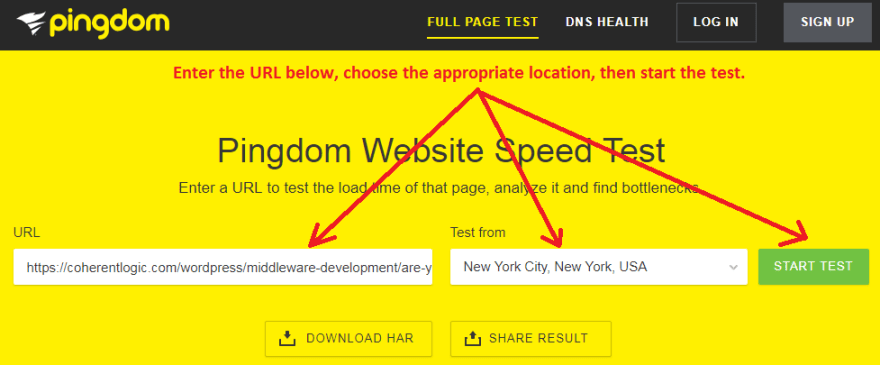 Pingdom Website SpeedTest
