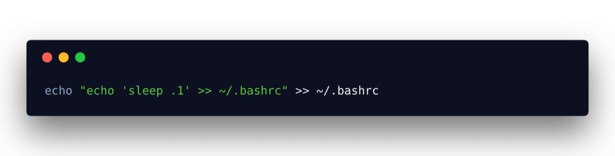 Bash code to slowly slowdown terminal startup